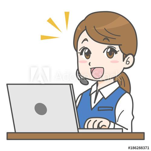 事務員さん(電話受付・女性事務員・オフィスレディ)の漫画イラスト【AdobeStock素材販売】