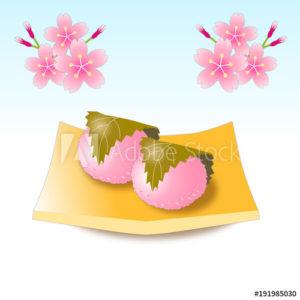 桜餅(ひな祭り、和菓子)のイラスト素材
