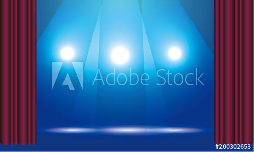 ステージ、舞台、スポットライト、カーテン背景イラスト(AdobeStock素材販売)