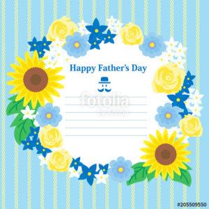 父の日メッセージカード(花、バラ、ひまわり)