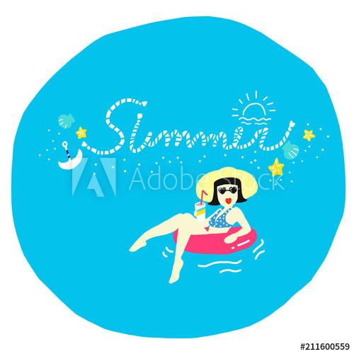 気分はLET'S SUMMER VACATION!イラストをAdobeStockで販売